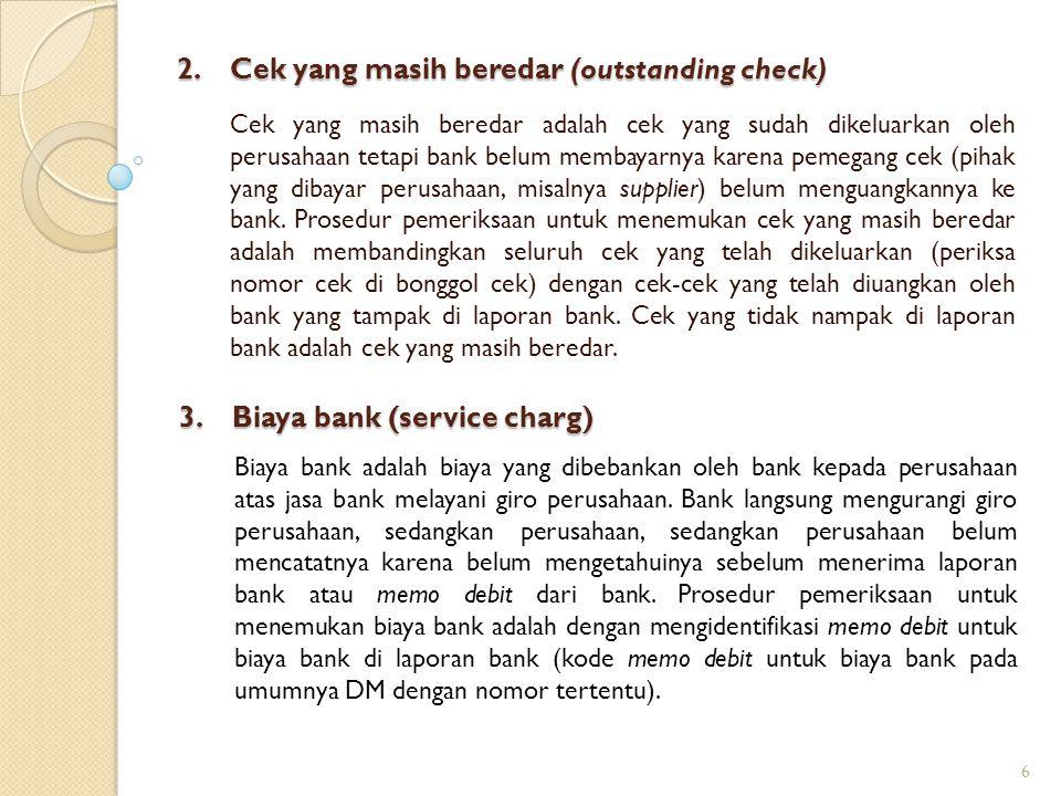 2. Cek yang masih beredar (outstanding check) Cek yang masih beredar adalah cek yang sudah dikeluarkan oleh perusahaan tetapi bank belum membayarnya k
