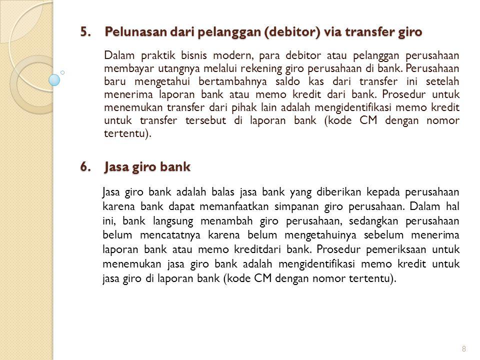 5. Pelunasan dari pelanggan (debitor) via transfer giro Dalam praktik bisnis modern, para debitor atau pelanggan perusahaan membayar utangnya melalui