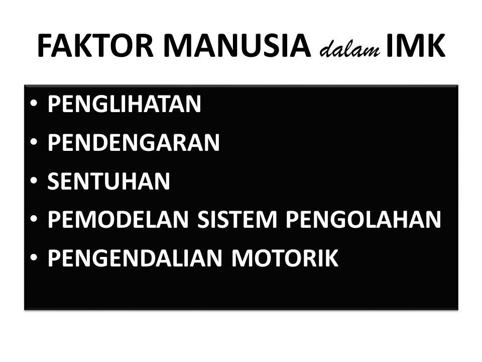 FAKTOR MANUSIA dalam IMK PENGLIHATAN PENDENGARAN SENTUHAN PEMODELAN SISTEM PENGOLAHAN PENGENDALIAN MOTORIK PENGLIHATAN PENDENGARAN SENTUHAN PEMODELAN SISTEM PENGOLAHAN PENGENDALIAN MOTORIK