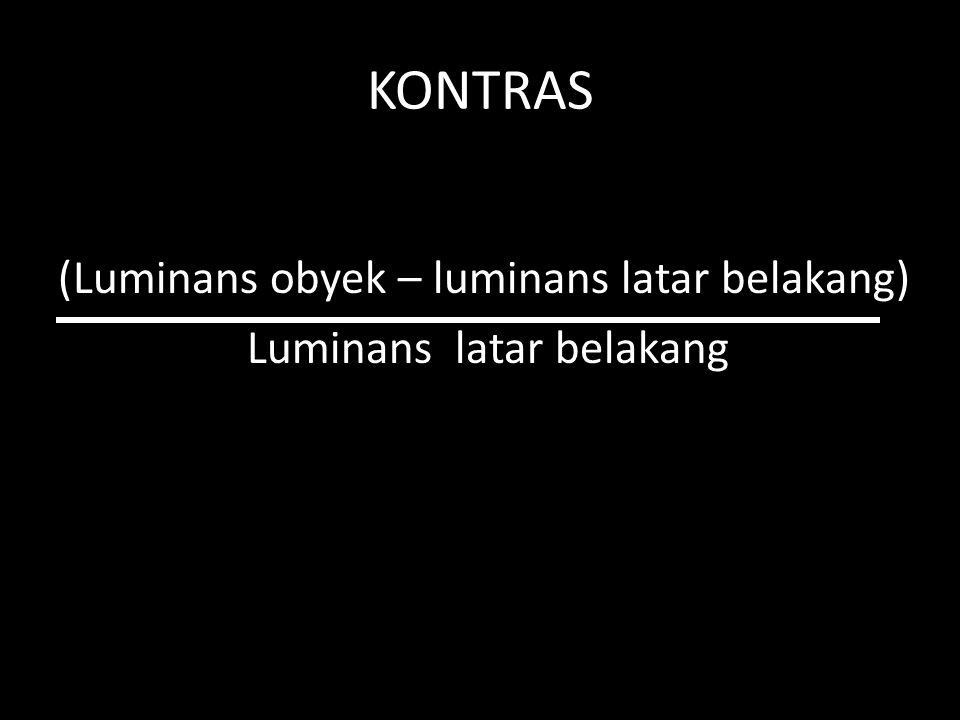 KONTRAS (Luminans obyek – luminans latar belakang) Luminans latar belakang