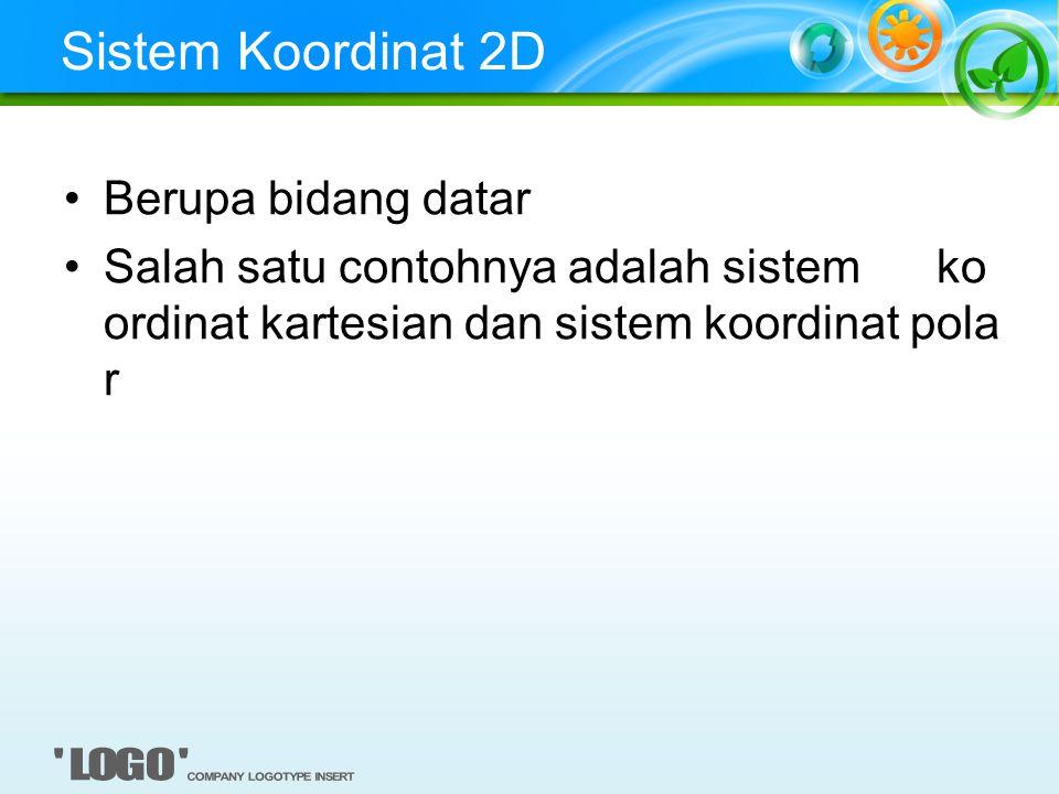 Sistem Koordinat 2D Berupa bidang datar Salah satu contohnya adalah sistem ko ordinat kartesian dan sistem koordinat pola r