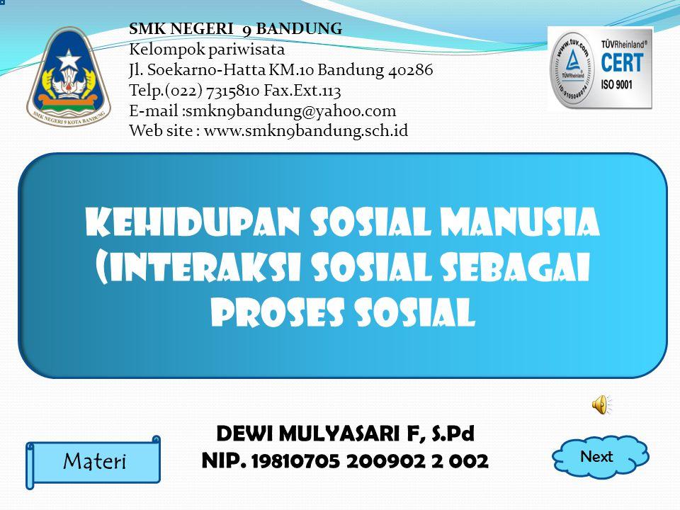 DEWI MULYASARI F, S.Pd NIP.19810705 200902 2 002 SMK NEGERI 9 BANDUNG Kelompok pariwisata Jl.
