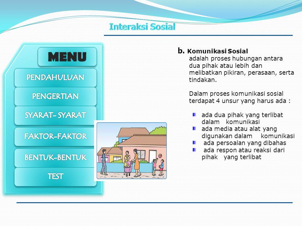 MENU Syarat Interaksi Sosial Menurut Soerjono Soekanto syarat interaksi sosial : a.Kontak Sosial Adalah peristiwa terjadinya pertemuan/saling berhubun