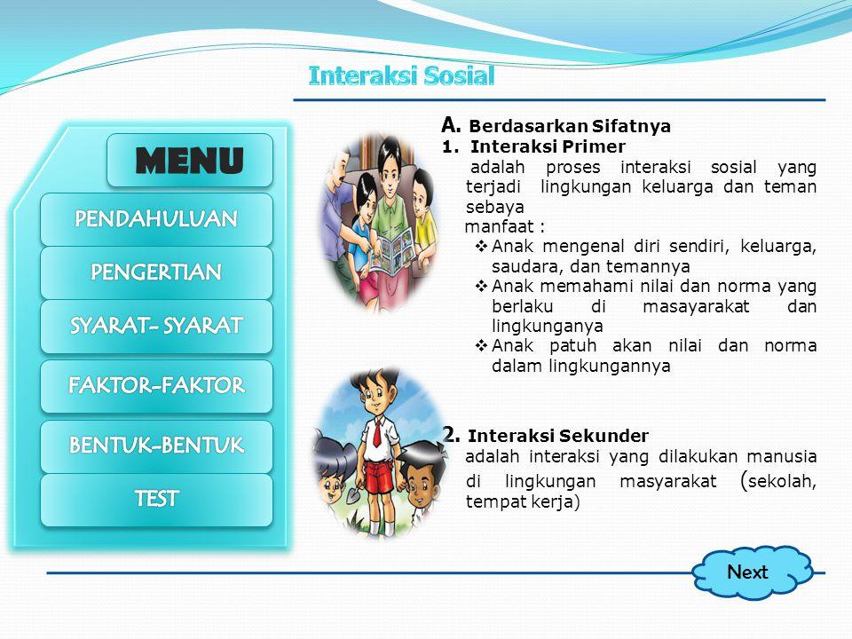MENU Bentuk – bentuk Interaksi Sosial A.Berdasarkan sifat 1. Interaksi Primer 2. Interaksi Sekunder B. Berdasarkan Proses 1. Assosiatif Kerjasama Sosi