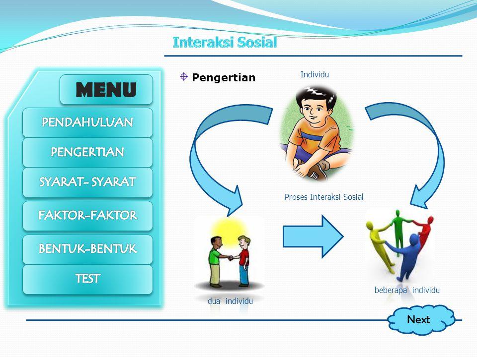 MENU Sebagai makhluk sosial dalam menjalankan aktivitasnya, manusia melakukan sebuah proses sosial yang melibatkan berbagai komponen baik individu ata