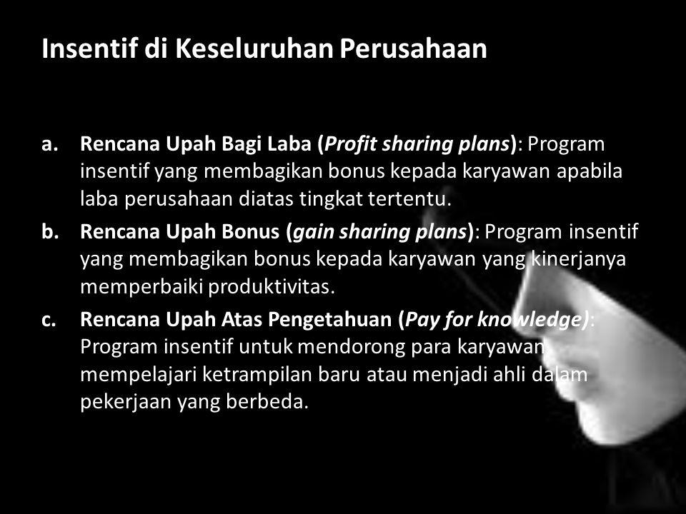 Insentif di Keseluruhan Perusahaan a.Rencana Upah Bagi Laba (Profit sharing plans): Program insentif yang membagikan bonus kepada karyawan apabila laba perusahaan diatas tingkat tertentu.