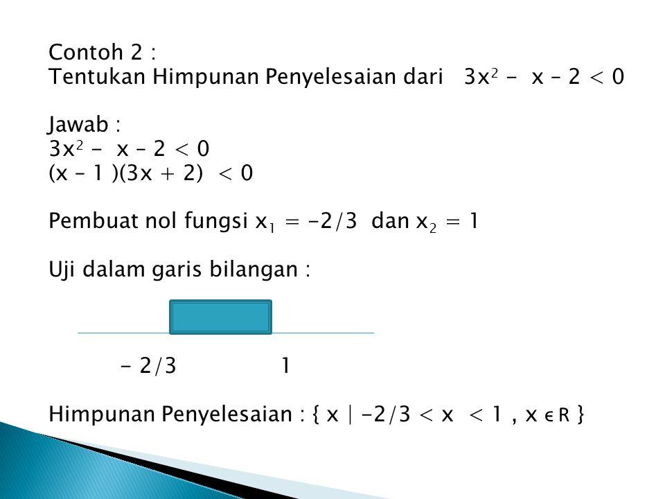 Contoh 2 : Tentukan Himpunan Penyelesaian dari 3x 2 - x – 2 < 0 Jawab : 3x 2 - x – 2 < 0 (x – 1 )(3x + 2) < 0 Pembuat nol fungsi x 1 = -2/3 dan x 2 =