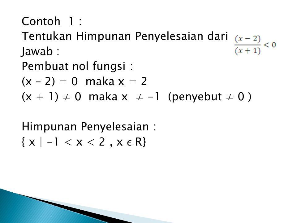 Contoh 1 : Tentukan Himpunan Penyelesaian dari Jawab : Pembuat nol fungsi : (x – 2) = 0 maka x = 2 (x + 1) ≠ 0 maka x ≠ -1 (penyebut ≠ 0 ) Himpunan Pe