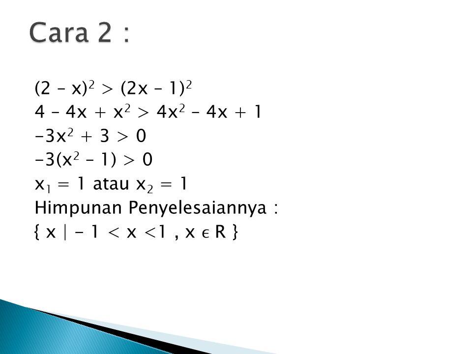 (2 – x) 2 > (2x – 1) 2 4 – 4x + x 2 > 4x 2 – 4x + 1 -3x 2 + 3 > 0 -3(x 2 – 1) > 0 x 1 = 1 atau x 2 = 1 Himpunan Penyelesaiannya : { x | - 1 < x <1, x