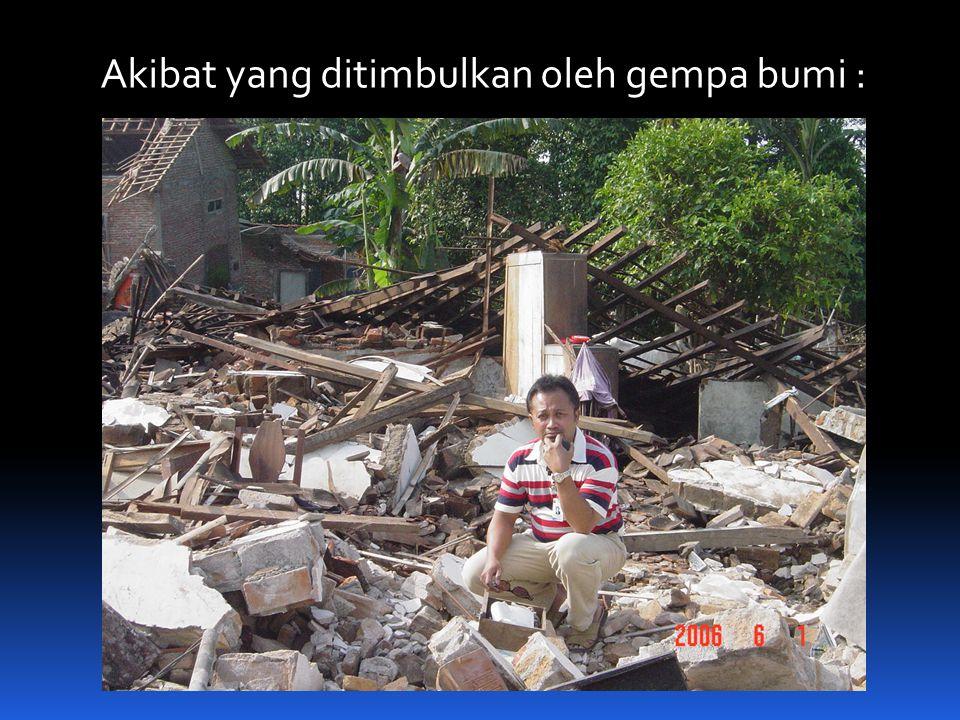 Akibat yang ditimbulkan oleh gempa bumi :