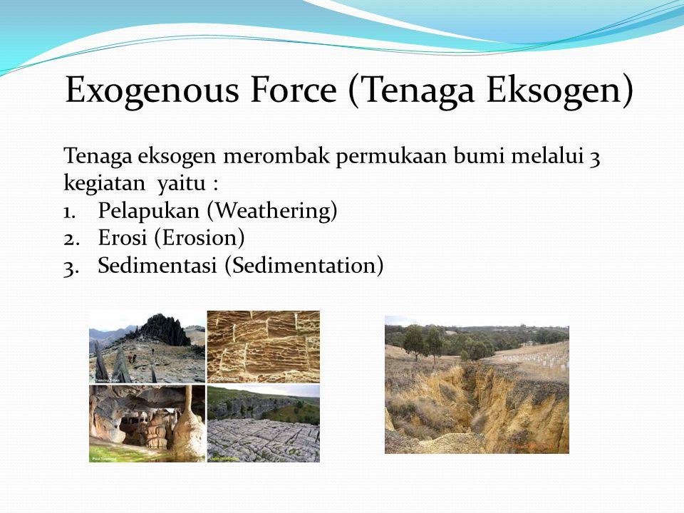 Exogenous Force (Tenaga Eksogen) Tenaga eksogen merombak permukaan bumi melalui 3 kegiatan yaitu : 1.Pelapukan (Weathering) 2.Erosi (Erosion) 3.Sedimentasi (Sedimentation)