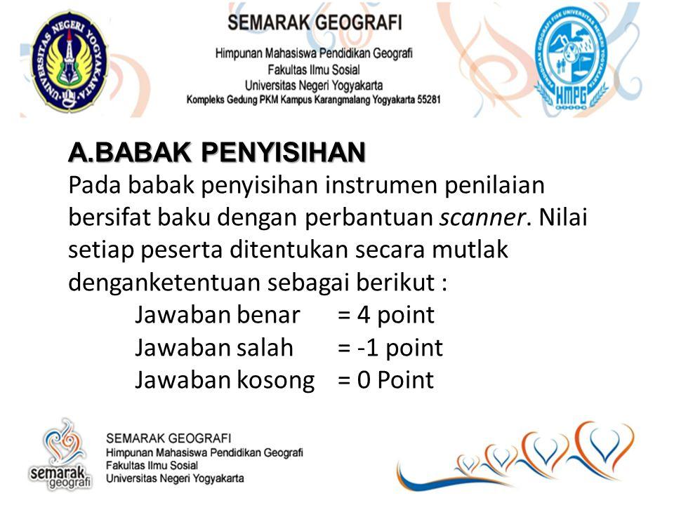 B.BABAK SEMIFINAL B.BABAK SEMIFINAL Ketentuan penilaian babak semifinal National Geography Competition adalah sebagai berikut : Soal Hitungan Proses(√)= 5 Point Jawaban(√)= 5 Point Soal Analisis Batuan/mineral/barchan Deskripsi jenis(√)= 3 point Proses pembentukan(√)= 4 point Analisis lanjut(√)= 3 point