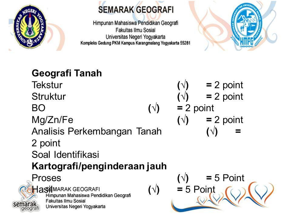 Geografi Tanah Tekstur(√)= 2 point Struktur(√)= 2 point BO(√)= 2 point Mg/Zn/Fe(√)= 2 point Analisis Perkembangan Tanah(√)= 2 point Soal Identifikasi Kartografi/penginderaan jauh Proses(√)= 5 Point Hasil(√)= 5 Point