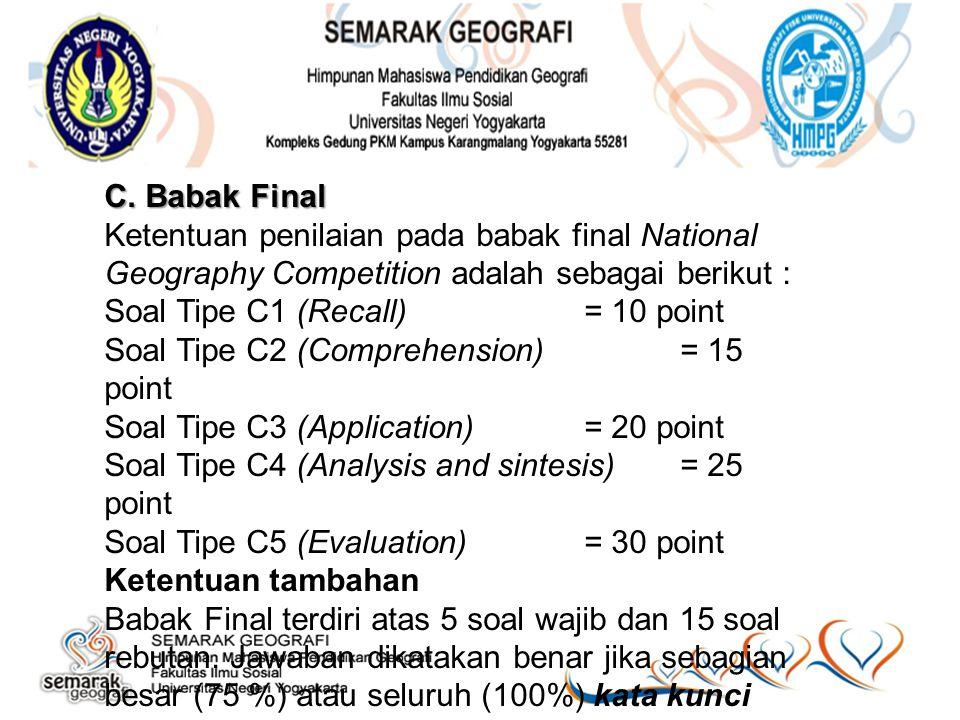C. Babak Final Ketentuan penilaian pada babak final National Geography Competition adalah sebagai berikut : Soal Tipe C1 (Recall)= 10 point Soal Tipe