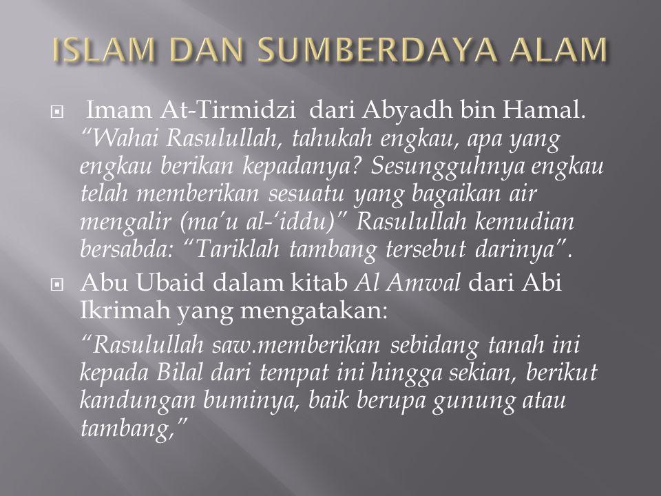 """ Imam At-Tirmidzi dari Abyadh bin Hamal. """"Wahai Rasulullah, tahukah engkau, apa yang engkau berikan kepadanya? Sesungguhnya engkau telah memberikan s"""