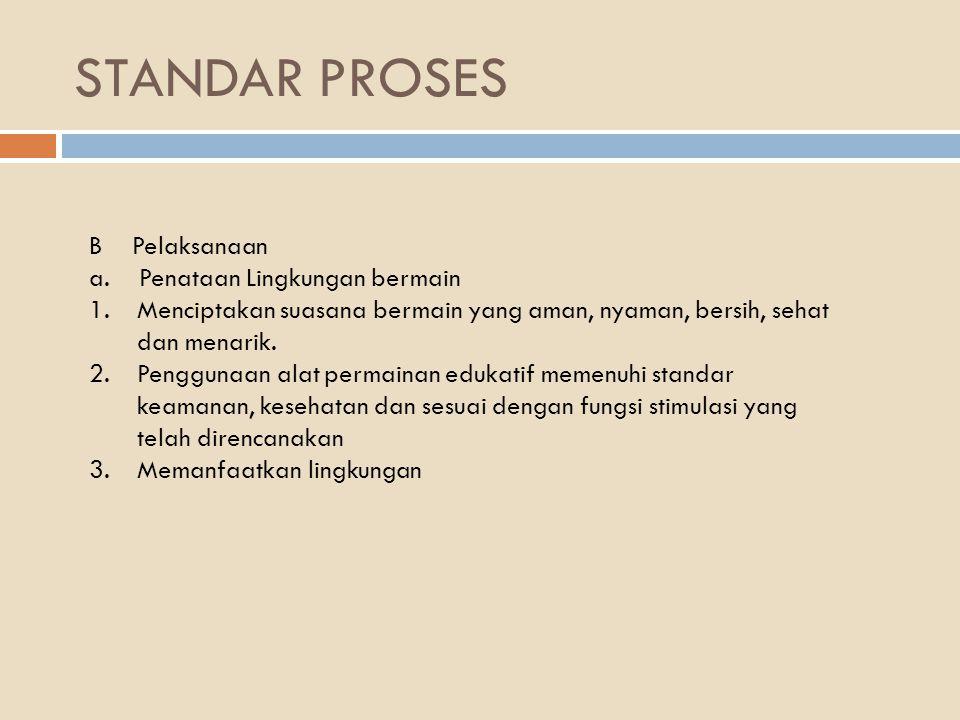 STANDAR PROSES B Pelaksanaan a.