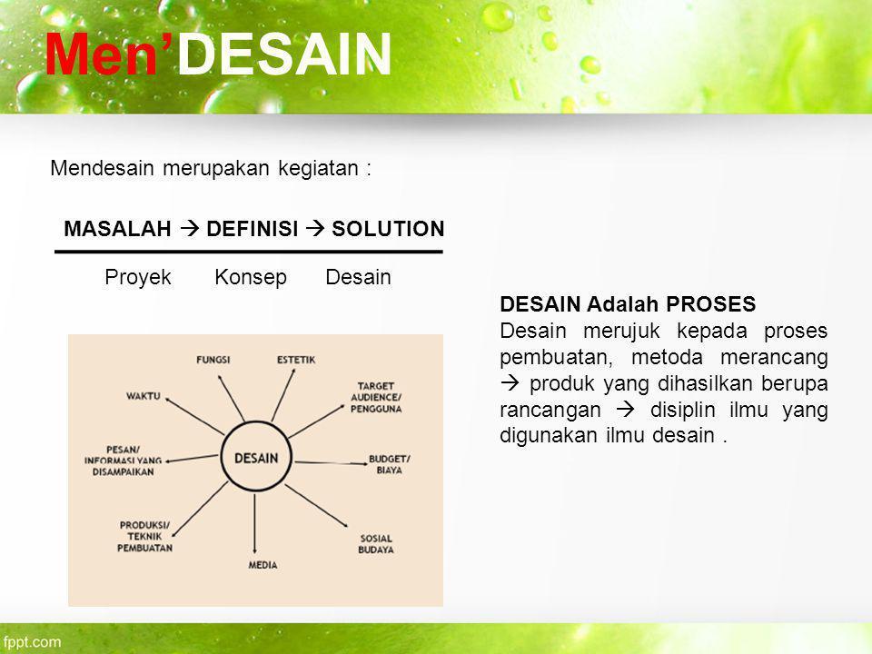 Men'DESAIN Mendesain merupakan kegiatan : MASALAH  DEFINISI  SOLUTION Proyek Konsep Desain DESAIN Adalah PROSES Desain merujuk kepada proses pembuat