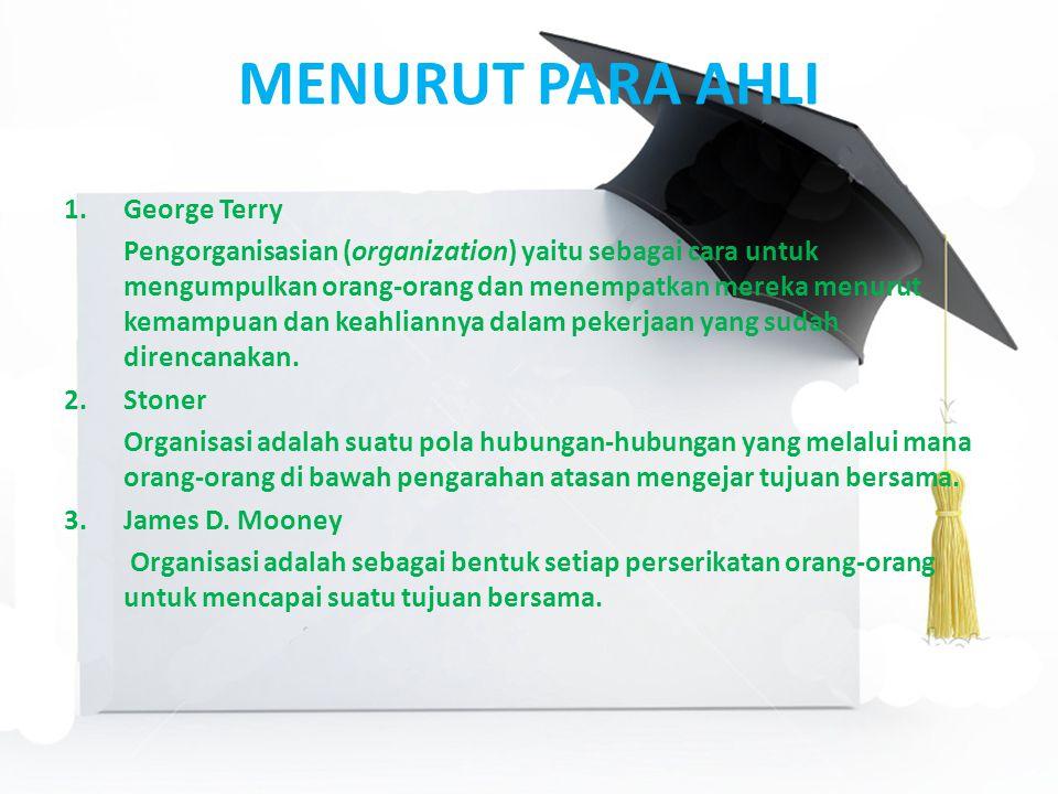 MENURUT PARA AHLI 1.George Terry Pengorganisasian (organization) yaitu sebagai cara untuk mengumpulkan orang-orang dan menempatkan mereka menurut kemampuan dan keahliannya dalam pekerjaan yang sudah direncanakan.