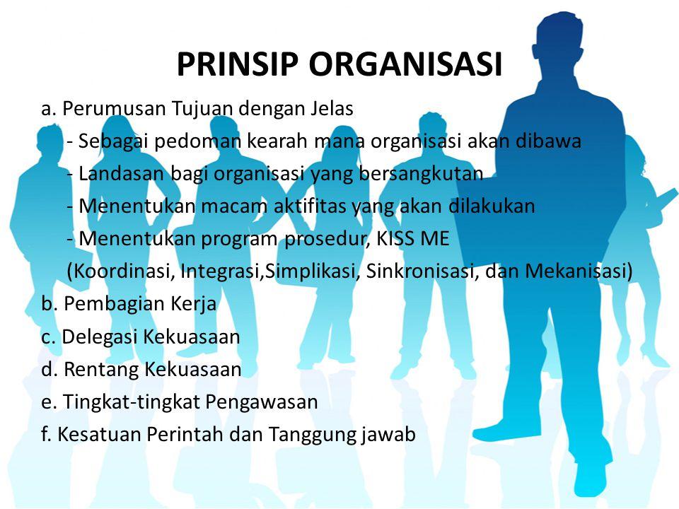 PRINSIP ORGANISASI a. Perumusan Tujuan dengan Jelas - Sebagai pedoman kearah mana organisasi akan dibawa - Landasan bagi organisasi yang bersangkutan