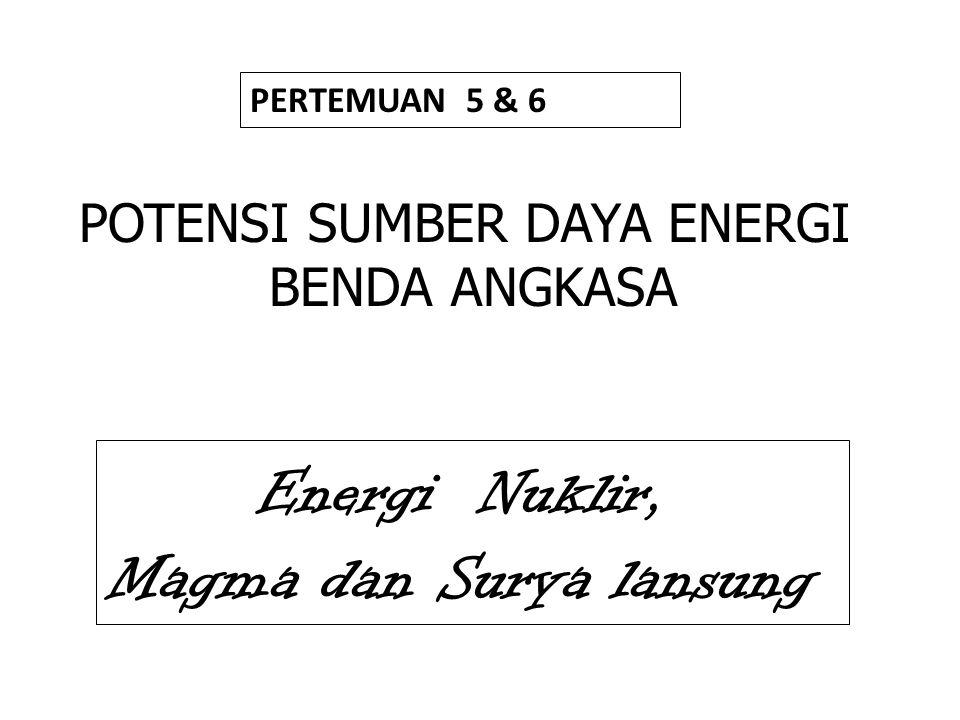 BAHAN BAKAR KONVERSI ENERGI FOSIL SEL SURYA NUKLIR 1.Batubara 2.Minyak Bumi 3.Gas 1.Batubara 2.Minyak Bumi 3.Gas 1.Peluluhan Radio Aktif 2.Reaksi Fisi 3.Reaksi Fusi 1.Peluluhan Radio Aktif 2.Reaksi Fisi 3.Reaksi Fusi 1.Perhitungan energi surya 2.Pengumpulan Sel Surya 1.Perhitungan energi surya 2.Pengumpulan Sel Surya PLTU PLTD PLTG PLTU PLTD PLTG PLTN PLTS