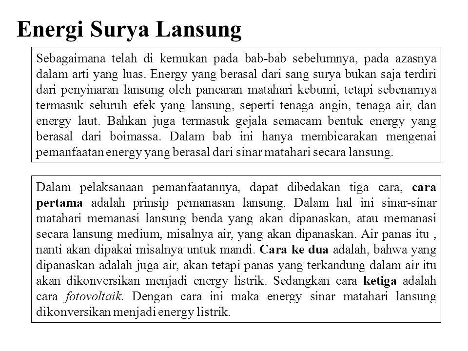Sebagaimana telah di kemukan pada bab-bab sebelumnya, pada azasnya dalam arti yang luas. Energy yang berasal dari sang surya bukan saja terdiri dari p