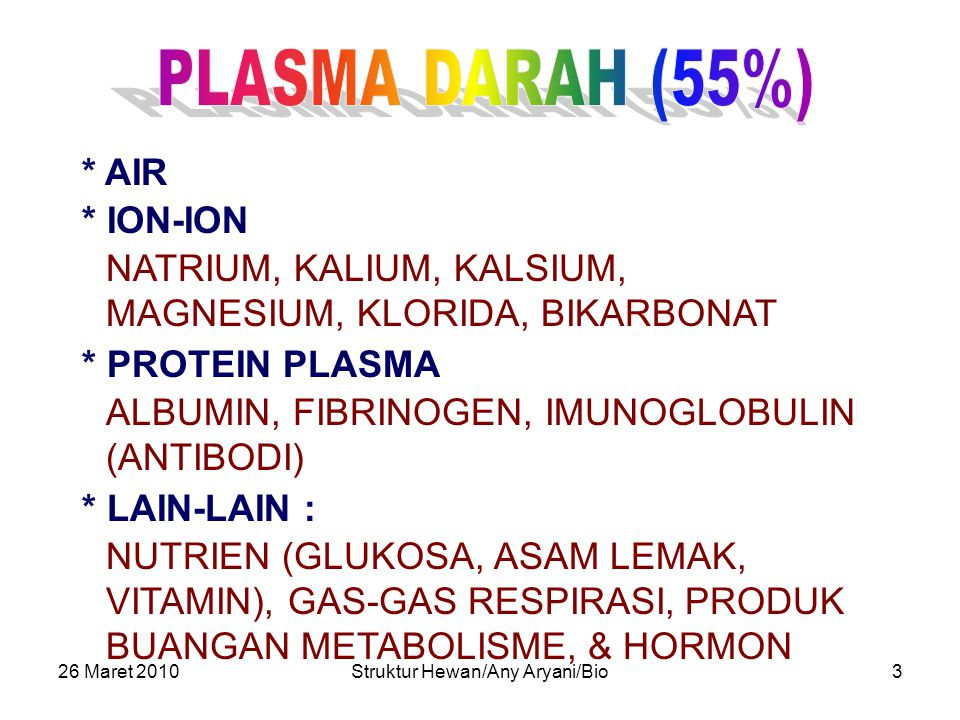 26 Maret 2010Struktur Hewan/Any Aryani/Bio3 * AIR * PROTEIN PLASMA ALBUMIN, FIBRINOGEN, IMUNOGLOBULIN (ANTIBODI) * LAIN-LAIN : NUTRIEN (GLUKOSA, ASAM LEMAK, VITAMIN), GAS-GAS RESPIRASI, PRODUK BUANGAN METABOLISME, & HORMON * ION-ION NATRIUM, KALIUM, KALSIUM, MAGNESIUM, KLORIDA, BIKARBONAT