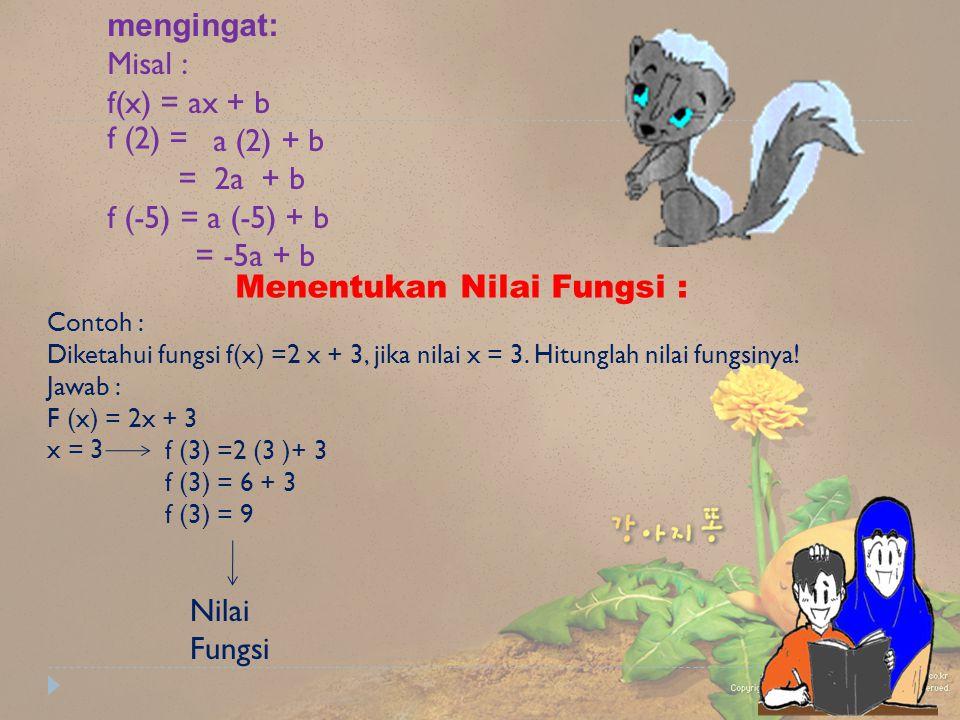 mengingat: Misal : f(x) = ax + b a (2) + b = 2a + b f (-5) = a (-5) + b = -5a + b Menentukan Nilai Fungsi : Contoh : Diketahui fungsi f(x) =2 x + 3, j