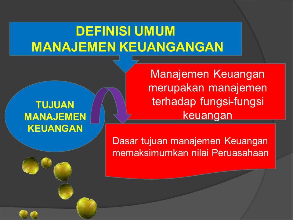 DEFINISI UMUM MANAJEMEN KEUANGANGAN Manajemen Keuangan merupakan manajemen terhadap fungsi-fungsi keuangan TUJUAN MANAJEMEN KEUANGAN Dasar tujuan mana