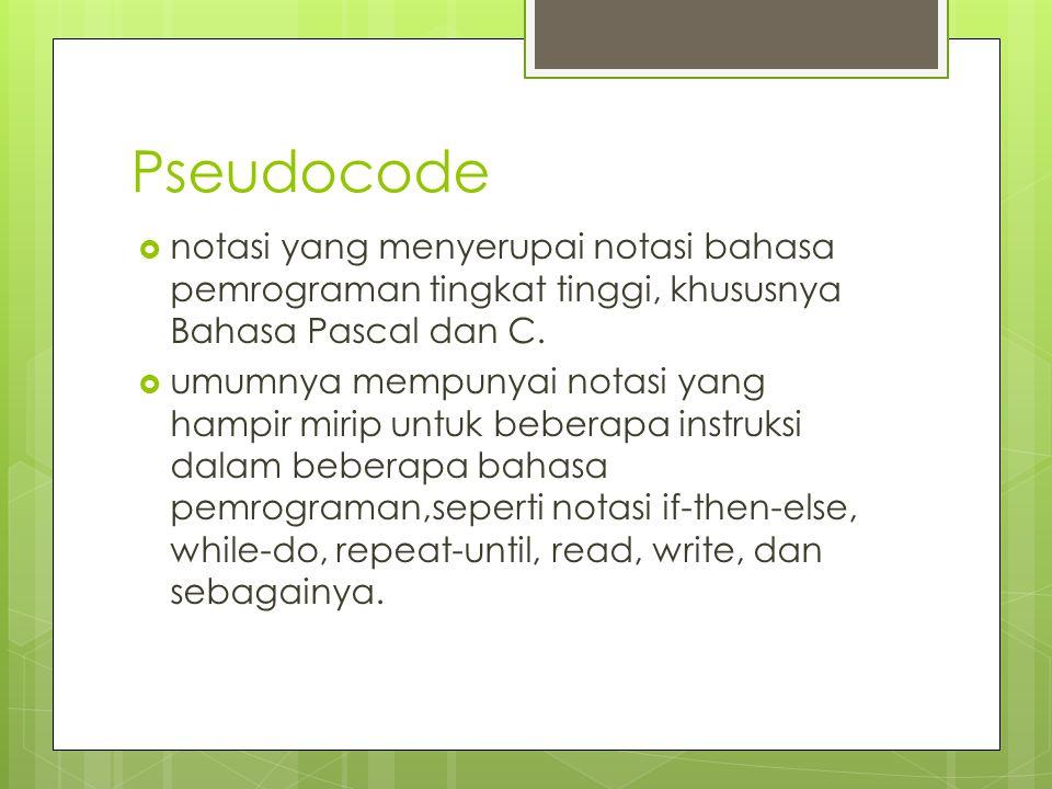 Pseudocode  notasi yang menyerupai notasi bahasa pemrograman tingkat tinggi, khususnya Bahasa Pascal dan C.  umumnya mempunyai notasi yang hampir mi
