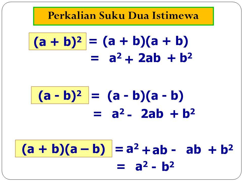 Perkalian Suku Dua Istimewa (a + b) 2 (a + b) = a2a2 + 2ab+b2b2 = (a - b) 2 (a - b) = a2a2 - 2ab+b2b2 = (a + b)(a – b) = a2a2 + ab +b2b2 - a2a2 = - b2