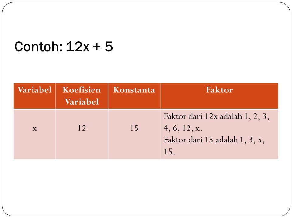 Contoh: 12x + 5 VariabelKoefisien Variabel KonstantaFaktor x1215 Faktor dari 12x adalah 1, 2, 3, 4, 6, 12, x. Faktor dari 15 adalah 1, 3, 5, 15.