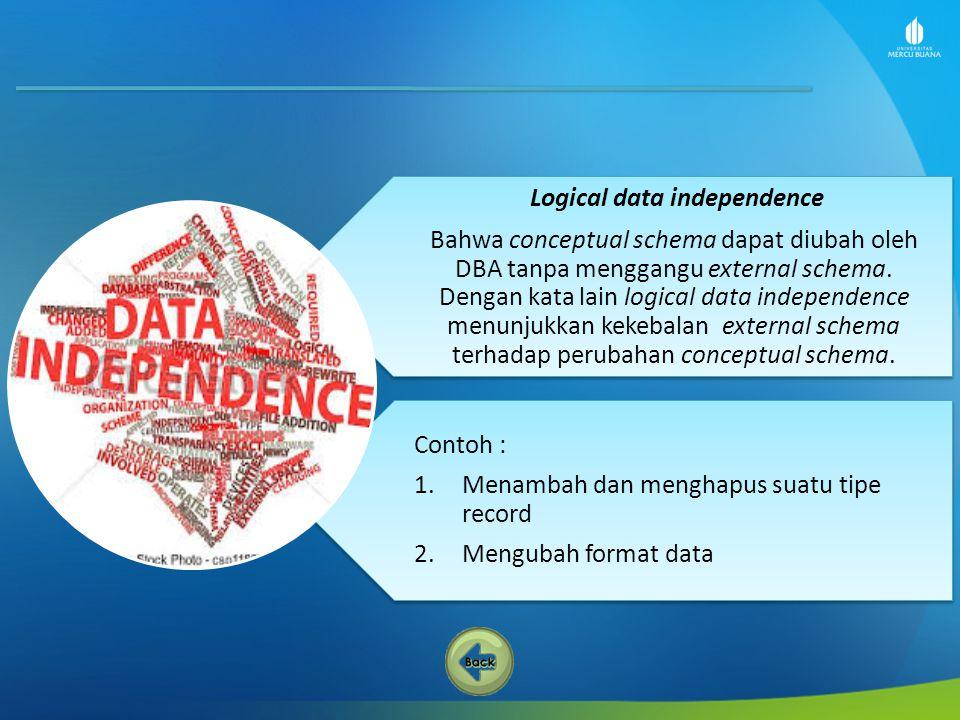 Contoh : 1.Menambah dan menghapus suatu tipe record 2.Mengubah format data Logical data independence Bahwa conceptual schema dapat diubah oleh DBA tan