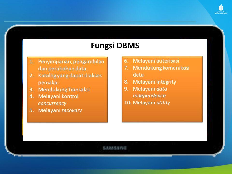 Fungsi DBMS 1.Penyimpanan, pengambilan dan perubahan data. 2.Katalog yang dapat diakses pemakai 3.Mendukung Transaksi 4.Melayani kontrol concurrency 5