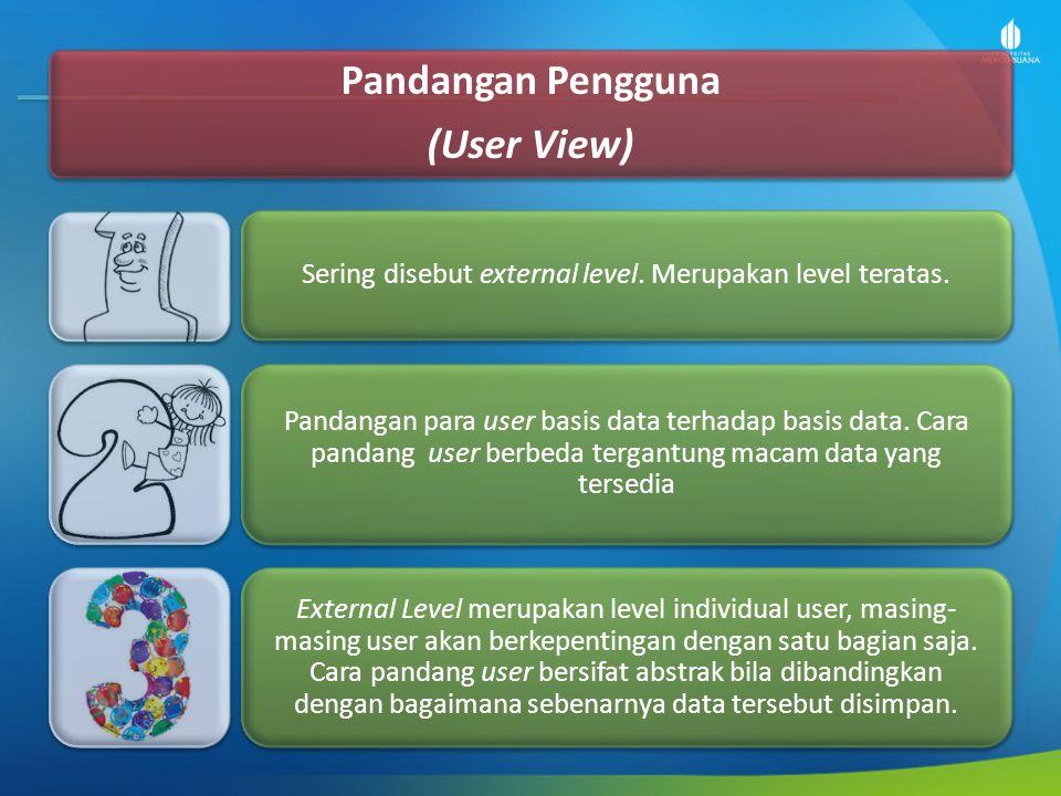 Pandangan Pengguna (User View) Sering disebut external level. Merupakan level teratas. Pandangan para user basis data terhadap basis data. Cara pandan