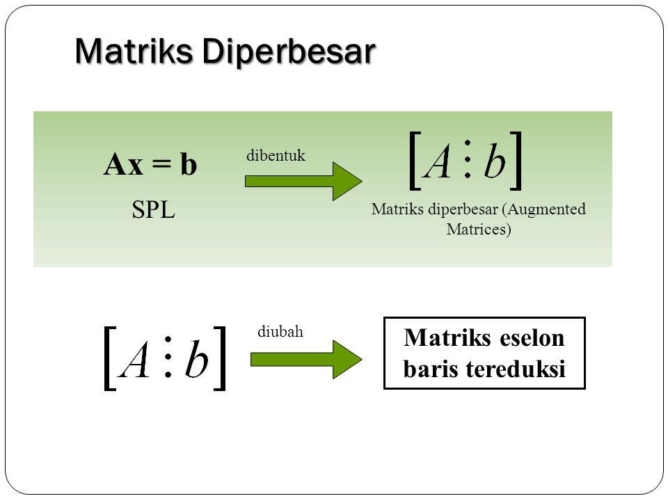 Matriks Diperbesar Ax = b Matriks diperbesar (Augmented Matrices) SPL dibentuk Matriks eselon baris tereduksi diubah