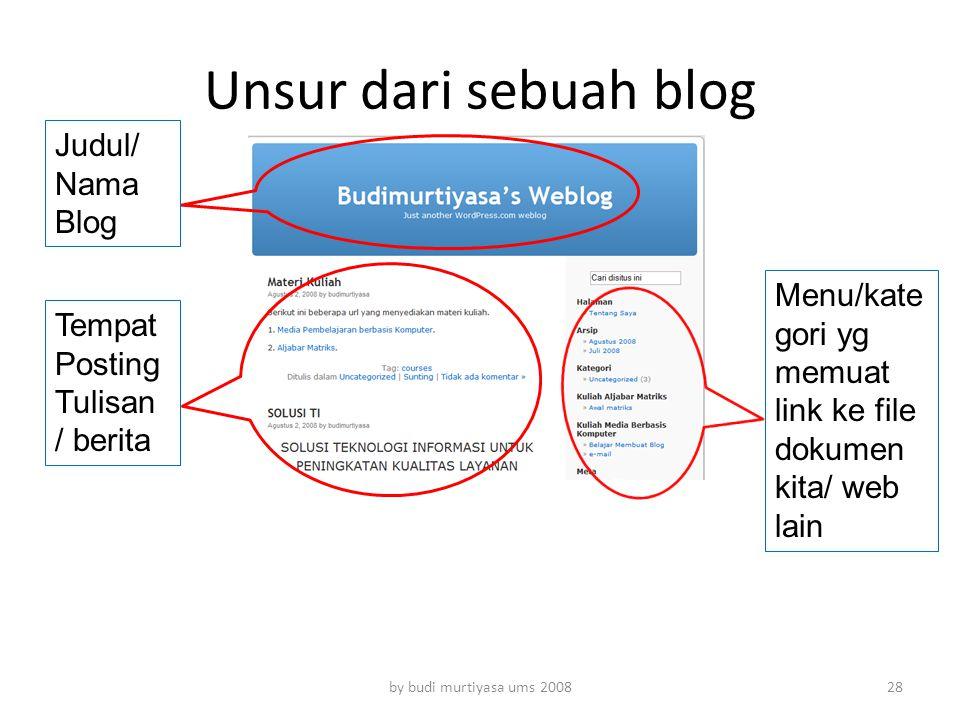 Unsur dari sebuah blog by budi murtiyasa ums 2008 Tempat Posting Tulisan / berita Judul/ Nama Blog Menu/kate gori yg memuat link ke file dokumen kita/