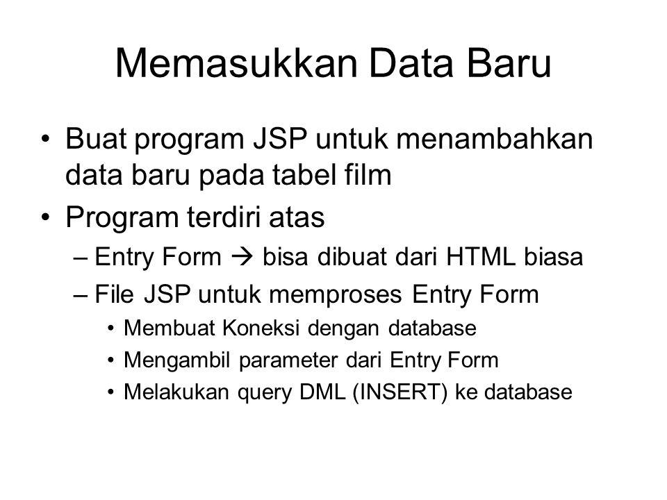 Memasukkan Data Baru Buat program JSP untuk menambahkan data baru pada tabel film Program terdiri atas –Entry Form  bisa dibuat dari HTML biasa –File JSP untuk memproses Entry Form Membuat Koneksi dengan database Mengambil parameter dari Entry Form Melakukan query DML (INSERT) ke database