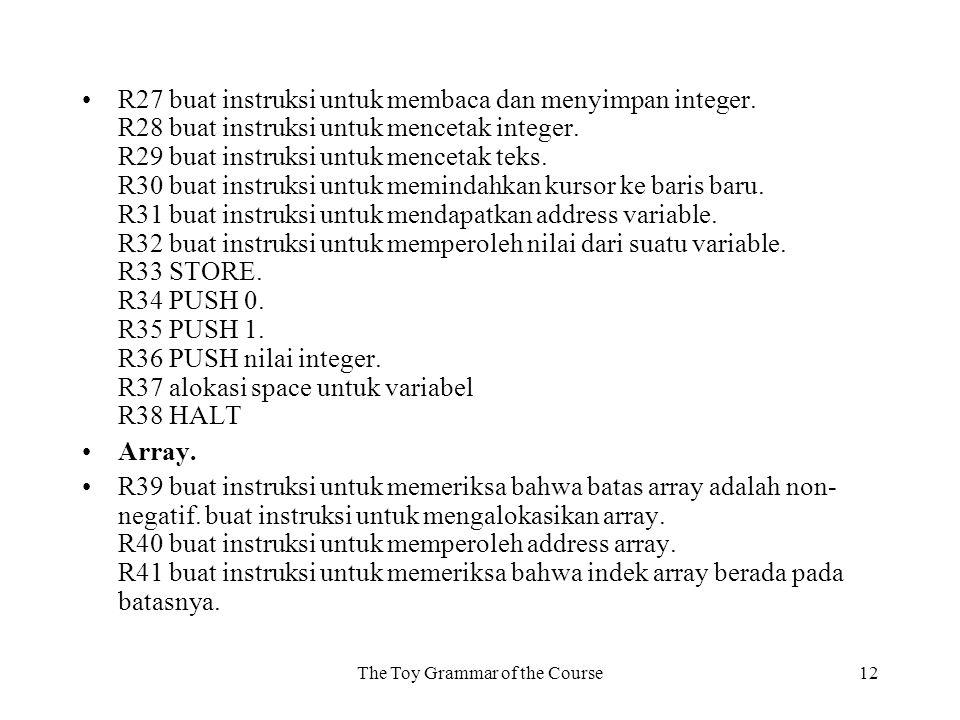 The Toy Grammar of the Course12 R27 buat instruksi untuk membaca dan menyimpan integer.