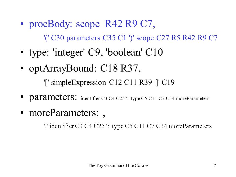 The Toy Grammar of the Course7 procBody: scope R42 R9 C7, ( C30 parameters C35 C1 ) scope C27 R5 R42 R9 C7 type: integer C9, boolean C10 optArrayBound: C18 R37, [ simpleExpression C12 C11 R39 ] C19 parameters: identifier C3 C4 C25 : type C5 C11 C7 C34 moreParameters moreParameters:, , identifier C3 C4 C25 : type C5 C11 C7 C34 moreParameters