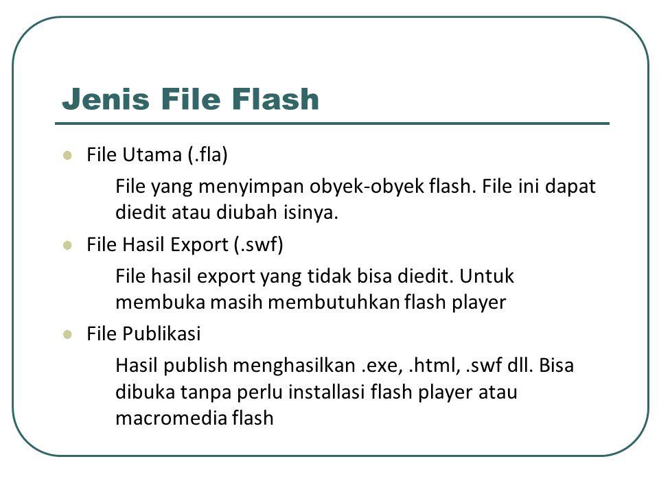 Jenis File Flash File Utama (.fla) File yang menyimpan obyek-obyek flash. File ini dapat diedit atau diubah isinya. File Hasil Export (.swf) File hasi