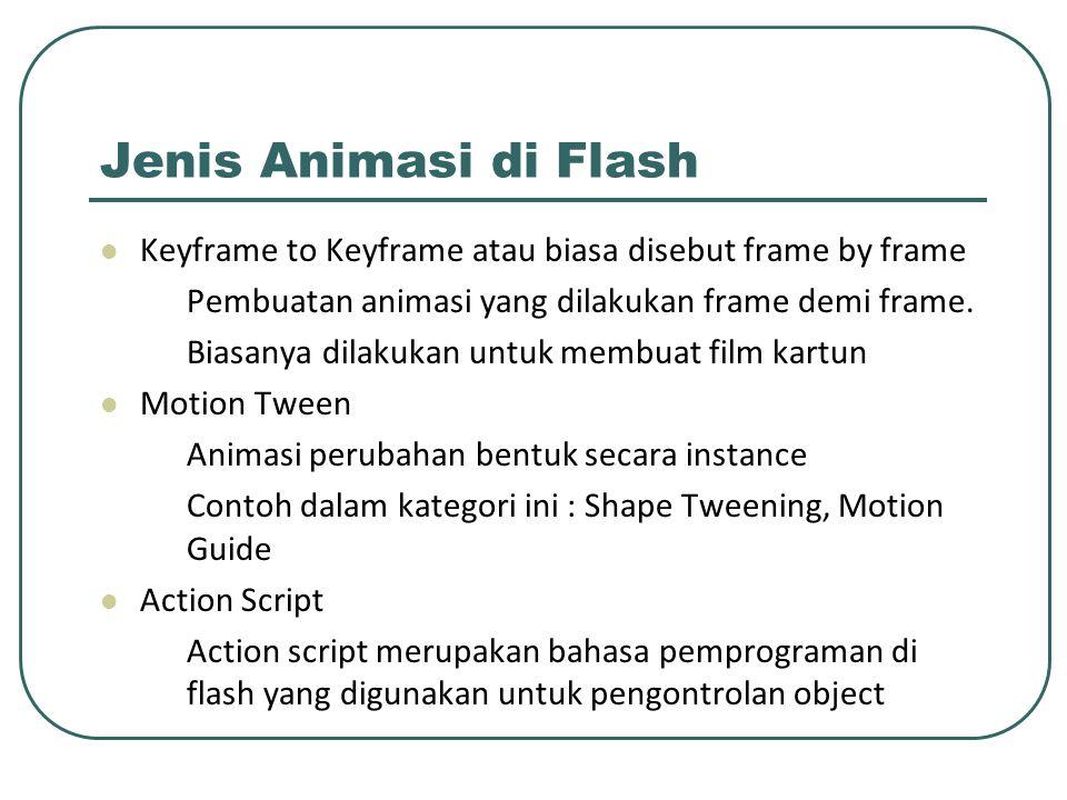 Jenis Animasi di Flash Keyframe to Keyframe atau biasa disebut frame by frame Pembuatan animasi yang dilakukan frame demi frame. Biasanya dilakukan un