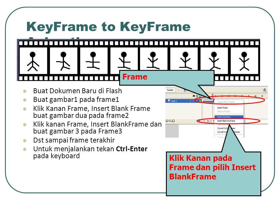 KeyFrame to KeyFrame Animation Buat Dokumen Baru di Flash Buat gambar1 pada frame1 Klik Kanan Frame, Insert Blank Frame buat gambar dua pada frame2 Kl