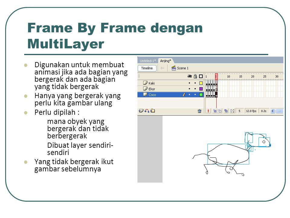 Frame By Frame dengan MultiLayer Digunakan untuk membuat animasi jika ada bagian yang bergerak dan ada bagian yang tidak bergerak Hanya yang bergerak