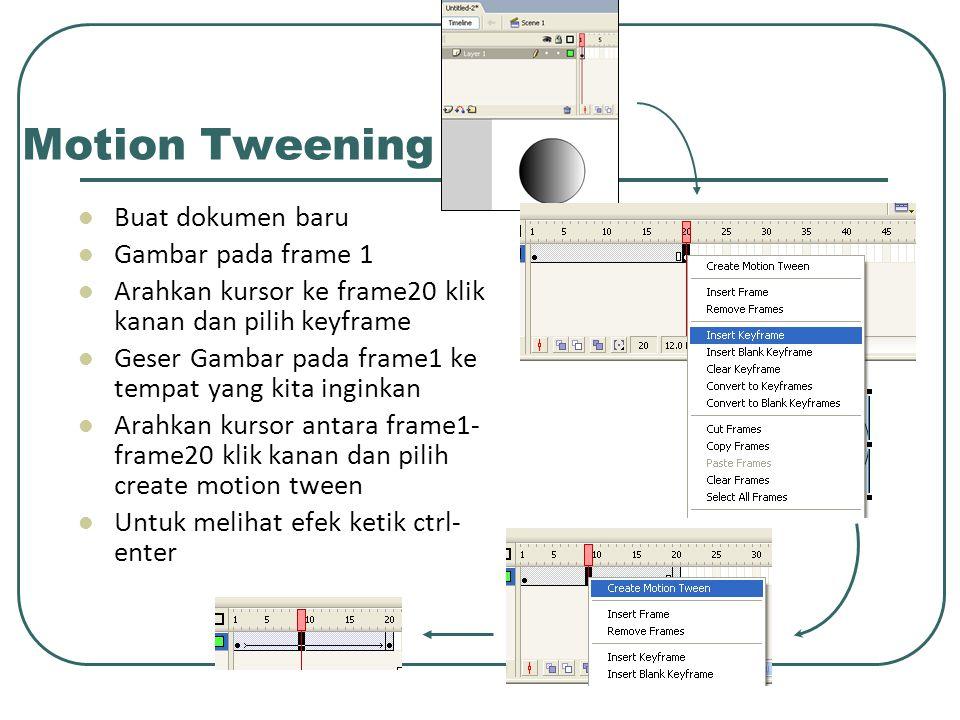 Motion Tweening Buat dokumen baru Gambar pada frame 1 Arahkan kursor ke frame20 klik kanan dan pilih keyframe Geser Gambar pada frame1 ke tempat yang