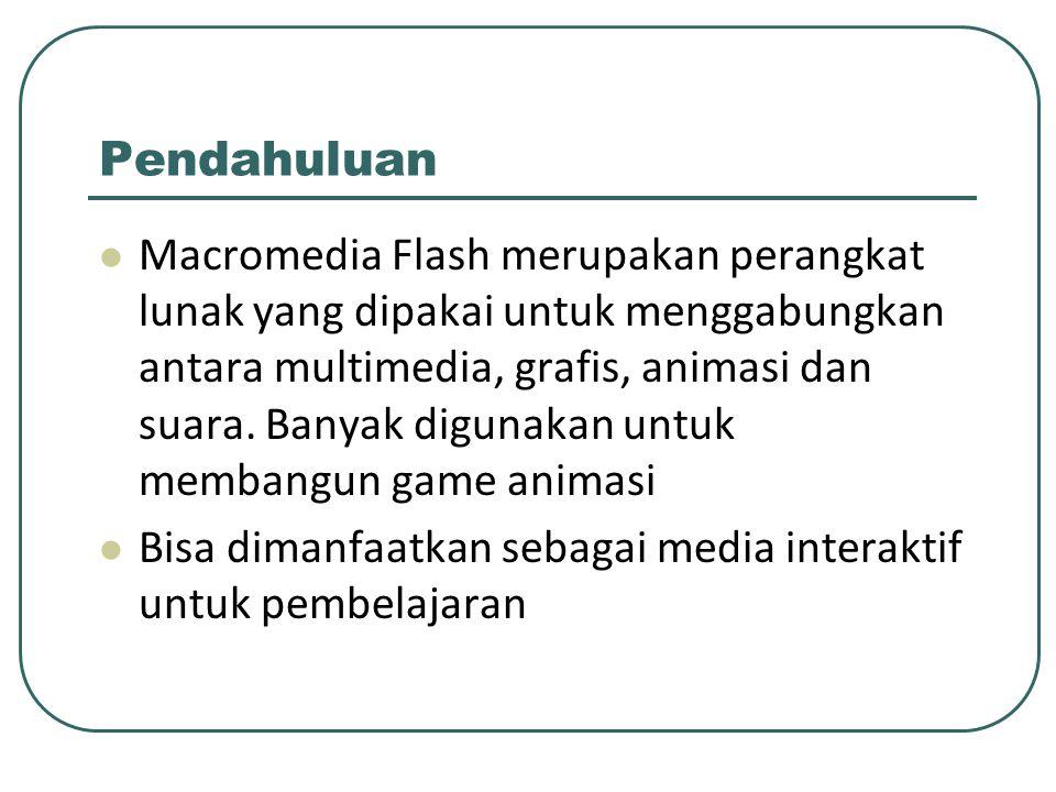 Pendahuluan Macromedia Flash merupakan perangkat lunak yang dipakai untuk menggabungkan antara multimedia, grafis, animasi dan suara. Banyak digunakan