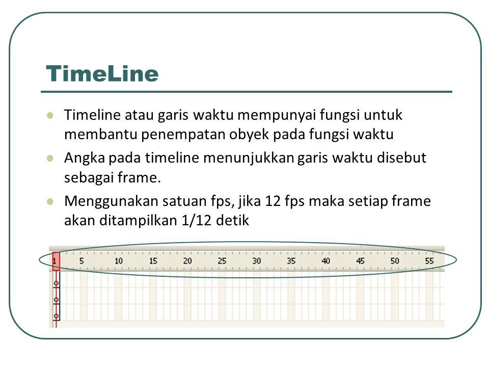 TimeLine Timeline atau garis waktu mempunyai fungsi untuk membantu penempatan obyek pada fungsi waktu Angka pada timeline menunjukkan garis waktu dise