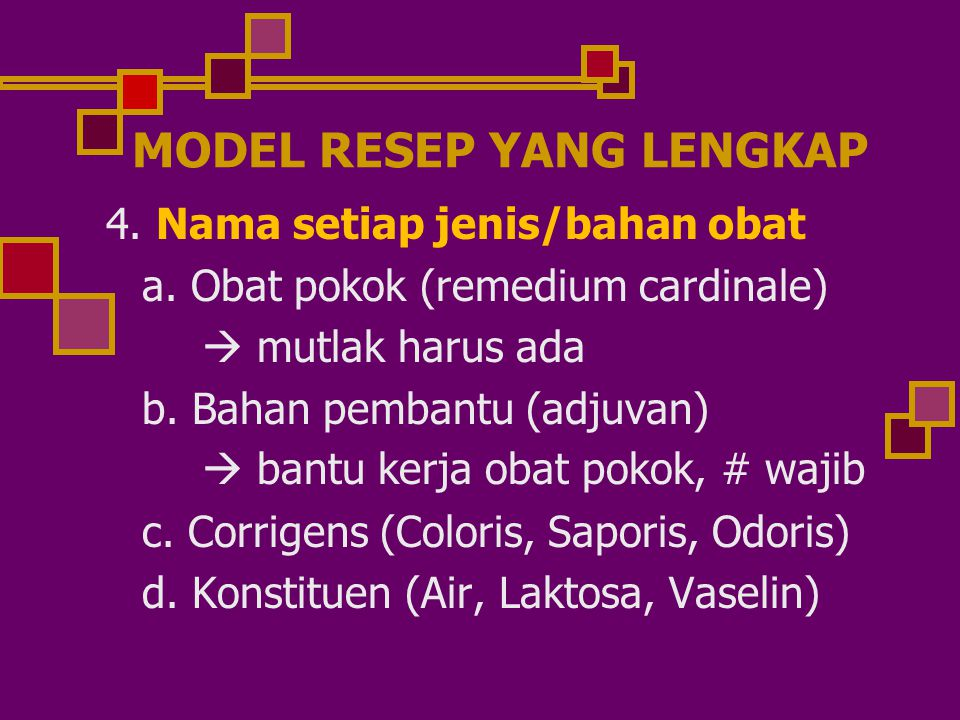 MODEL RESEP YANG LENGKAP 4.Nama setiap jenis/bahan obat a.