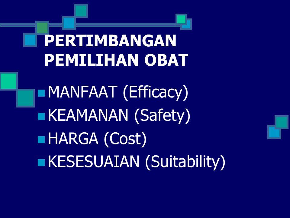 PERTIMBANGAN PEMILIHAN OBAT MANFAAT (Efficacy) KEAMANAN (Safety) HARGA (Cost) KESESUAIAN (Suitability)