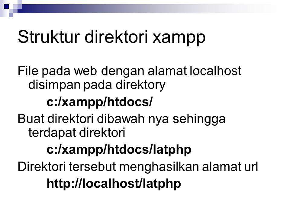 Struktur direktori xampp File pada web dengan alamat localhost disimpan pada direktory c:/xampp/htdocs/ Buat direktori dibawah nya sehingga terdapat d