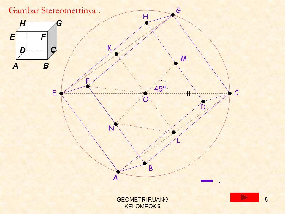GEOMETRI RUANG KELOMPOK 6 5 E C O M N F B A G K L D H 45° Gambar Stereometrinya : : A D H E C B G F